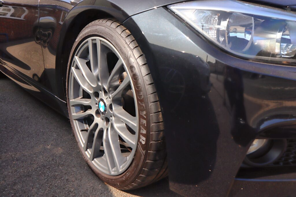 close up of goodyear tyre on a car